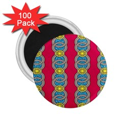 African Fabric Iron Chains Red Yellow Blue Grey 2 25  Magnets (100 Pack)