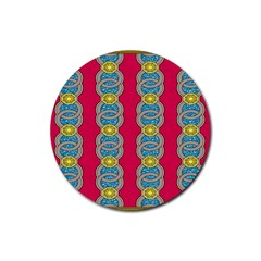 African Fabric Iron Chains Red Yellow Blue Grey Rubber Coaster (Round)