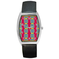 African Fabric Iron Chains Red Yellow Blue Grey Barrel Style Metal Watch