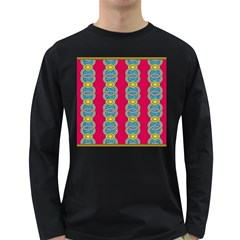 African Fabric Iron Chains Red Yellow Blue Grey Long Sleeve Dark T Shirts