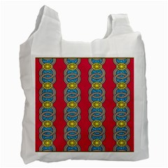 African Fabric Iron Chains Red Yellow Blue Grey Recycle Bag (Two Side)