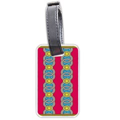 African Fabric Iron Chains Red Yellow Blue Grey Luggage Tags (Two Sides)
