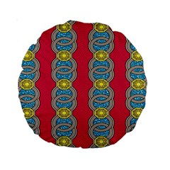 African Fabric Iron Chains Red Yellow Blue Grey Standard 15  Premium Round Cushions