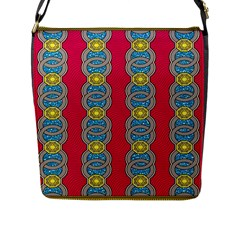 African Fabric Iron Chains Red Yellow Blue Grey Flap Messenger Bag (L)