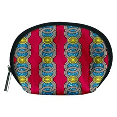 African Fabric Iron Chains Red Yellow Blue Grey Accessory Pouches (Medium)