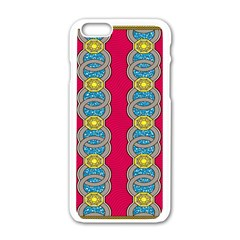 African Fabric Iron Chains Red Yellow Blue Grey Apple iPhone 6/6S White Enamel Case