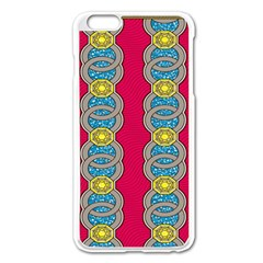 African Fabric Iron Chains Red Yellow Blue Grey Apple Iphone 6 Plus/6s Plus Enamel White Case