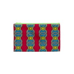 African Fabric Iron Chains Red Yellow Blue Grey Cosmetic Bag (XS)