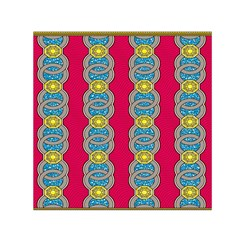 African Fabric Iron Chains Red Yellow Blue Grey Small Satin Scarf (square)