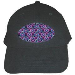 African Fabric Flower Purple Black Cap