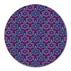 African Fabric Flower Purple Round Mousepads