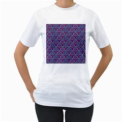 African Fabric Flower Purple Women s T Shirt (white) (two Sided)