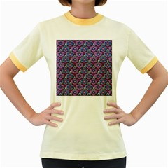 African Fabric Flower Purple Women s Fitted Ringer T-Shirts