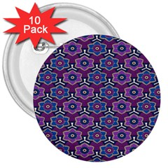 African Fabric Flower Purple 3  Buttons (10 Pack)