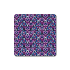 African Fabric Flower Purple Square Magnet