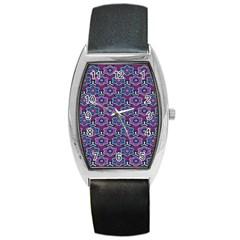 African Fabric Flower Purple Barrel Style Metal Watch