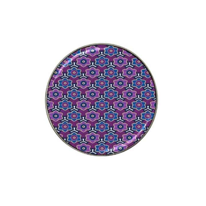 African Fabric Flower Purple Hat Clip Ball Marker (10 pack)