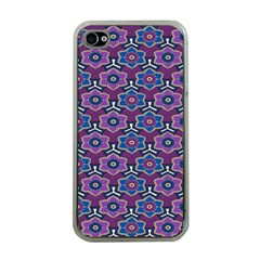 African Fabric Flower Purple Apple iPhone 4 Case (Clear)