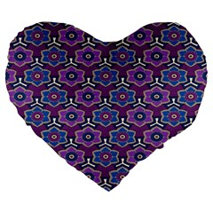 African Fabric Flower Purple Large 19  Premium Flano Heart Shape Cushions