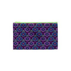 African Fabric Flower Purple Cosmetic Bag (XS)