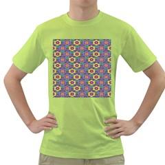 African Fabric Flower Green Purple Green T Shirt