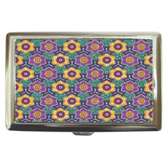 African Fabric Flower Green Purple Cigarette Money Cases