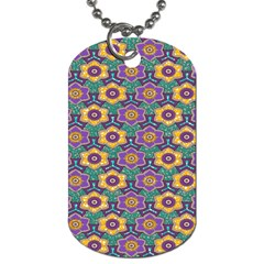 African Fabric Flower Green Purple Dog Tag (two Sides)