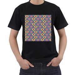 African Fabric Flower Green Purple Men s T-Shirt (Black) (Two Sided)
