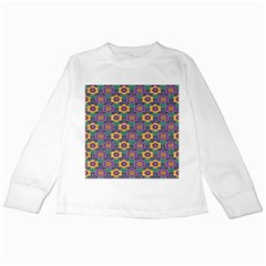 African Fabric Flower Green Purple Kids Long Sleeve T Shirts