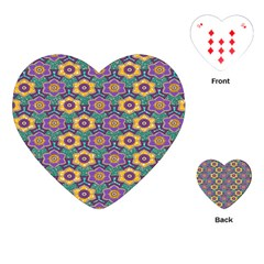 African Fabric Flower Green Purple Playing Cards (Heart)