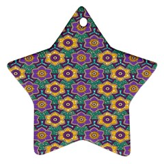 African Fabric Flower Green Purple Star Ornament (Two Sides)