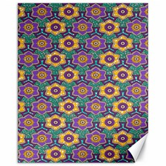 African Fabric Flower Green Purple Canvas 16  x 20