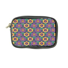 African Fabric Flower Green Purple Coin Purse