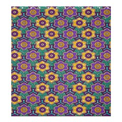 African Fabric Flower Green Purple Shower Curtain 66  X 72  (large)