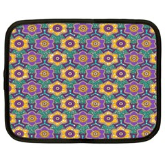 African Fabric Flower Green Purple Netbook Case (XXL)