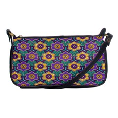 African Fabric Flower Green Purple Shoulder Clutch Bags