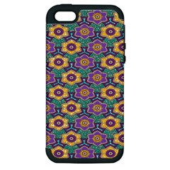 African Fabric Flower Green Purple Apple iPhone 5 Hardshell Case (PC+Silicone)