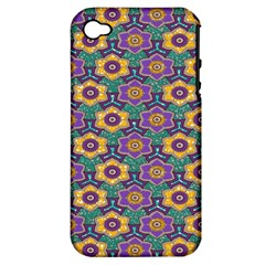 African Fabric Flower Green Purple Apple iPhone 4/4S Hardshell Case (PC+Silicone)