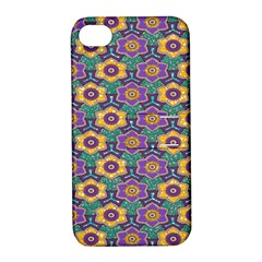 African Fabric Flower Green Purple Apple iPhone 4/4S Hardshell Case with Stand