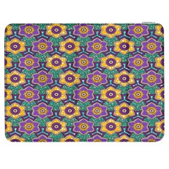 African Fabric Flower Green Purple Samsung Galaxy Tab 7  P1000 Flip Case