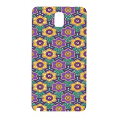 African Fabric Flower Green Purple Samsung Galaxy Note 3 N9005 Hardshell Back Case