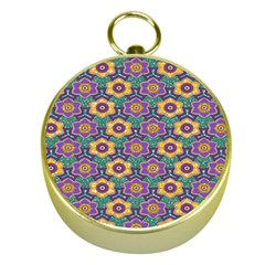 African Fabric Flower Green Purple Gold Compasses