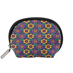 African Fabric Flower Green Purple Accessory Pouches (Small)