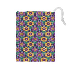 African Fabric Flower Green Purple Drawstring Pouches (Large)