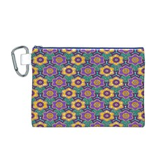 African Fabric Flower Green Purple Canvas Cosmetic Bag (M)