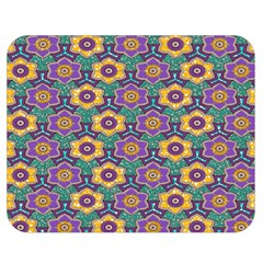 African Fabric Flower Green Purple Double Sided Flano Blanket (Medium)