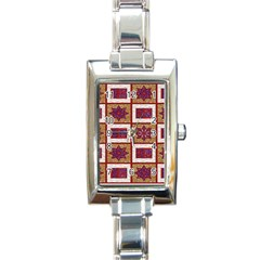 African Fabric Star Plaid Gold Blue Red Rectangle Italian Charm Watch