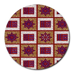 African Fabric Star Plaid Gold Blue Red Round Mousepads