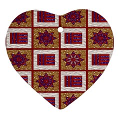 African Fabric Star Plaid Gold Blue Red Ornament (heart)
