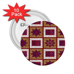 African Fabric Star Plaid Gold Blue Red 2 25  Buttons (10 Pack)
